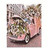Pintar por Números Kits para Adultos y Niños, DIY Pintura al Óleo por Números Decoración del Hogar - Carro de flores rosadas 40x50 cm Con Marco