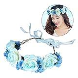 Frcolor Künstliche Blume Haar Bands Simulation Rose Stirnband Hairstlye Zubehör für Cocktail Party Hochzeit Engagement Feier (blau)