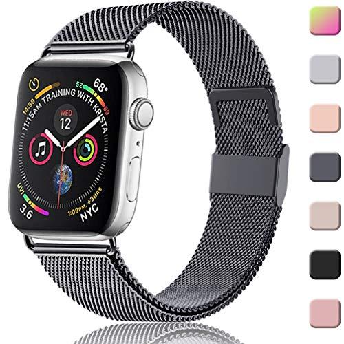 Wepro Compatibel met Apple Watch Bandje 38mm 40mm 42mm 44mm, Roestvrijstalen Metalen Gaas Band Verstelbare Vervanging met Sterke Magnetische Sluiting voor iWatch Series 5/4/3/2/1, Meerdere kleuren