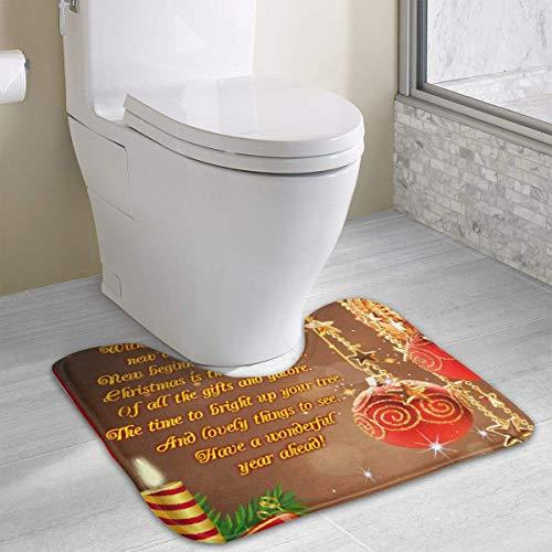 Hoklcvd Personalisierte Toilette Teppich-Wish-You-Merry-Christmas Toilette U-förmige MatCartoon weiche Matte Dusche Boden Teppichboden Badezimmer