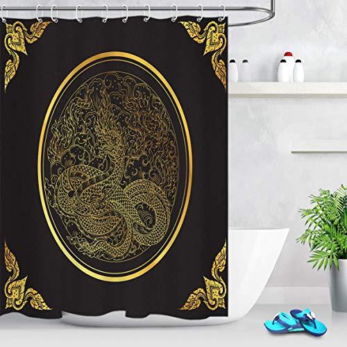 N \ A Oriental China Dragon Tenda Doccia Stile Boemia Drago Dorato Motivo Paisley su sfondo nero Tenda da doccia di lusso 150 x 180 cm Tessuto impermeabile con 10 ganci