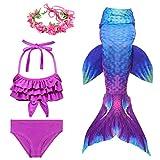 Traje de baño para Nadar con de natación para niños con Cola de Sirena para niñas de 3 Piezas...