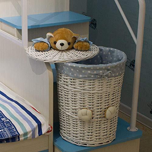 Cestas de mimbre tejidas redondas para la colada, cesta de almacenamiento con tapa de oso, cesta pequeña y grande para ropa panier-cesta blanca + tela de puntos azul_grande 38 cm x 48 cm