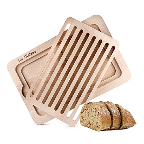 Die Dietzes Brotschneidebrett mit Krümelfang 38x40x2 cm - Made in Germany - Schneidebrett aus hochwertigem Buchenholz, mit antibakterielle Eigenschaften, geschmacksneutral und lebensmittelecht