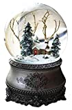 Wichtelstube-Kollektion LED Schneekugel Winterwald elektr. Schneewirbel, viele Melodien und Farbwechsel Vintage