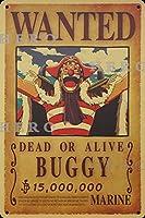 海賊アニメBUGGYバギー さびた錫のサインヴィンテージアルミニウムプラークアートポスター装飾面白い鉄の絵の個性安全標識警告バースクールカフェガレージの寝室に適しています
