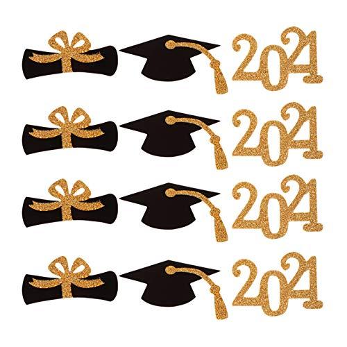 Amosfun 48 Stücke 2021 Graduation Cake Topper Abschluss Kuchen Picks Glitzer Kuchenstecker Doktor Hut Cupcake Zahnstocher Graduierung Foto Requisiten für Abschlussfeier Dekoration Party Deko