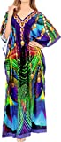 LA LEELA Women's Plus Size Caftan Night Gown Swimsuit Dress US 14-22W Multi_V558