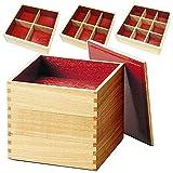 越前漆器 白木 三段重箱 内朱 仕切り3種類付き(松屋漆器)001-1056