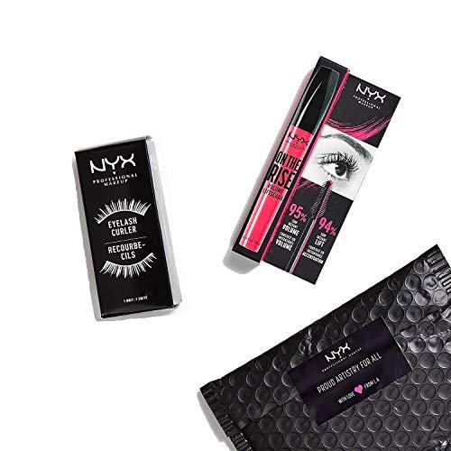 NYX Professional Makeup Set de Pestañas con Máscara On the Rise Voluminizadora Efecto Lifting color Negro y Rizador de pestañas, 370 g
