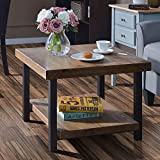 Coffee Table Easy Assembly Rustic Natural End Table with Storage Shelf for Living Room (26' Coffee Table)