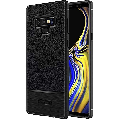 ebestStar - kompatibel mit Samsung Galaxy Note 9 Hülle Note9 Lederhülle Design TPU Handyhülle Schutzhülle, Flex Silikon Hülle, Schwarz [Note9: 161.9 x 76.4 x 8.8mm, 6.4'']