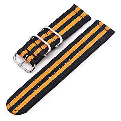 Lzpzz Correa de nailon de 6 colores, hebilla negra, 18 mm, 20 mm, 22 mm, 24 mm, color: 22 mm, tamaño: negro y naranja S)