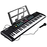 Electronic Keyboard 61 Key Portable Music Piano Keyboard with Microphone and Stand Interactive