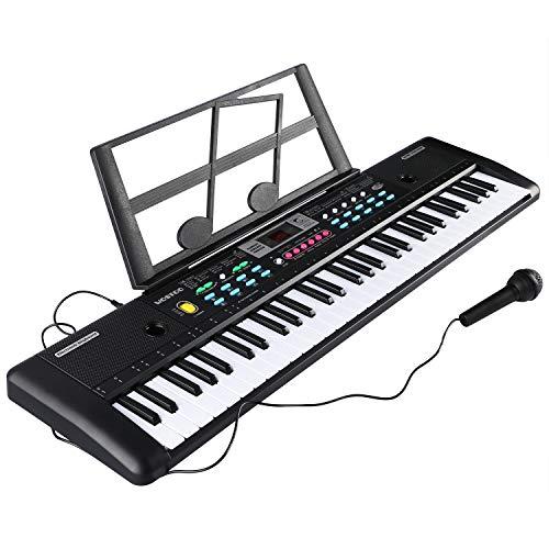 RenFox Multifunktions 61Tasten Paino Keyboard mit Mikrofon Musik Klaviertastatur Tragbare Elektronische Musikinstrument mit Mikrofon Geschenk