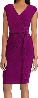 AMERICAN LIVING Womens Purple Ruffled Cap Sleeve V Neck Above The Knee Sheath Wear To Work Dress US Size: 4