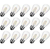 S14 Led Light Bulbs 15 Pack 2W (Equivalent to 11 W) Shatterproof Replacement Bulbs with E26 Medium Base, Warm Led Bulbs for Outdoor Patio Garden Vintage String Lights