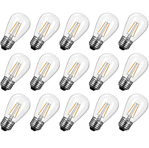 Brightown Shatterproof LED S14 Replacement Light Bulbs-E26 E27 Medium Screw Base Edison Bulbs Equivalent to 11 W, Fits for Commercial Outdoor Patio Garden Vintage Lights, 15-Pack, Warm White