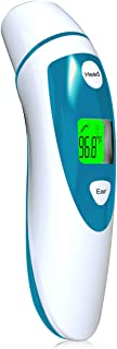 Forehead and Ear Thermometer for Fever, Digital Infrared Temporal Thermometer with Fever Alarm and Memory Function for Baby Adults and Kids (White & Blue)
