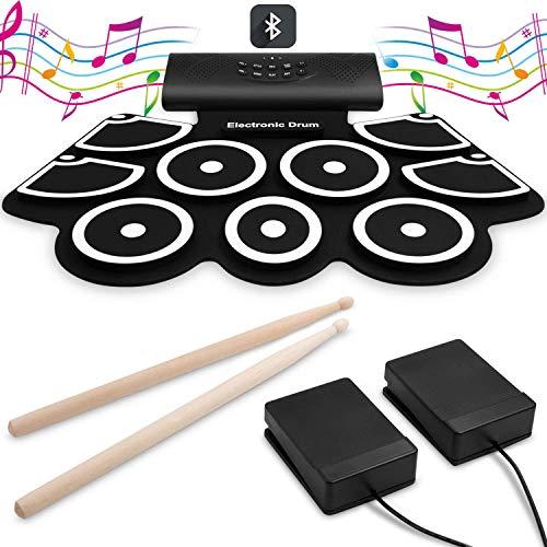 LBWNB Faltbares Elektronisches Schlagzeug-Set 9 Pads Elektrische Für Musikalische Unterhaltung Mit Eingebauten Lautsprechern, Fußpedalen Und Drumsticks - Ideal Für Kinder,Weiß