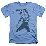 Trevco Men's Bruce Lee Short Sleeve T-Shirt, Heather Light Blue, Large