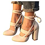 Aniywn Women's Chunky High Heel Closed Toe Lace Up Sandals Pumps Round Toe Ankle Strap Elegant Party Wedding Dress Shoes Beige
