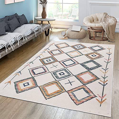 TT Home Tapis de salon à poils courts avec motif losanges ethniques multicolores, couleur pastel, dimensions : 120 x 170 cm