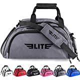 Boxing gym duffle Bag For MMA, BJJ, Jiu Jitsu gear, Elite Sports duffel athletic gym backpack with shoes compartment (Grey, Medium)