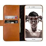 StilGut Leder-Hülle kompatibel mit Huawei Honor 8 Pro Brieftasche mit Kartenfächer, Cognac
