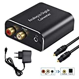 AMANKA Analogico ad Digitale Audio Convertitore Adattatore,ADC Convertitore da RCA 3,5 mm jack a Coaxial Toslink con Toslink Cavo e Power Adapter per TV DVD Blu-Ray PS3 PS4 Xbox,Alluminio