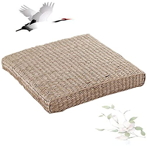 Tatami Floor Pillow Natural Seat Meditation Pillow Handcrafted Eco-Friendly Breathable Pad Knitted Straw Flat Seat Cushion/Straw Futon Cushion for Zen Yoga 40cm (15.75 /2.36 Inch) ( Size : 40x6cm )