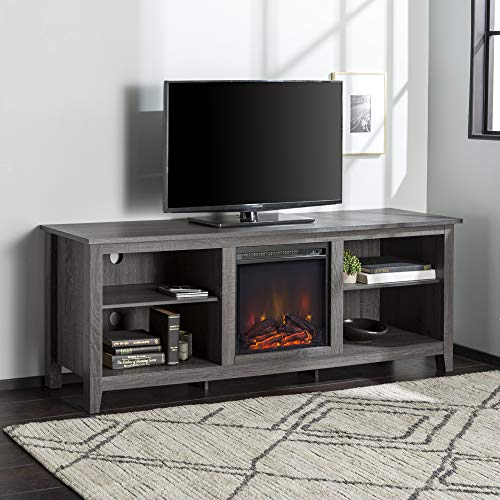 Walker Edison Wood 70' Fireplace Console | Flat-panel TV's up to 70' | 4 Storage Shelves | Charcoal