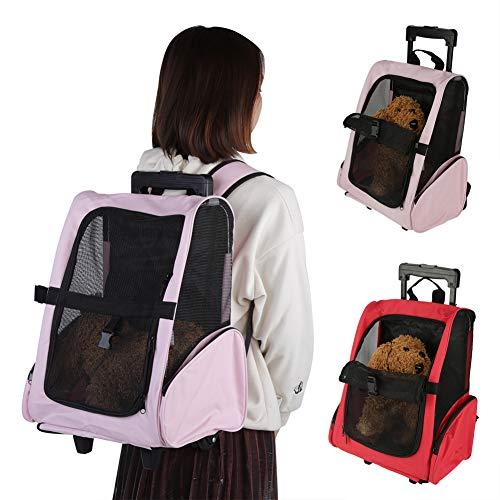 Bolsa de Viaje Para Mascotas Portátil, Bolsa de Transporte para Mascotas con Ruedas Mochilas para Mascotas con Ruedas Dobles y Diseño de Tela de Malla para Viajes En Avión Mascotas Puppy(rojo)