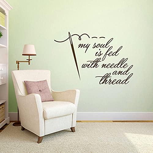 Mijn ziel is een hobby genaaid door naald en draad muur sticker naai ambacht verwijderbare kunst aan de muur vinyl muur sticker 96x64cm