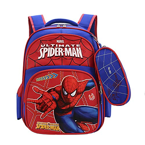 Primary School boy School Bag 1-4 Grade Marvel Spiderman ice and Snow Girl Children Backpack-Blue