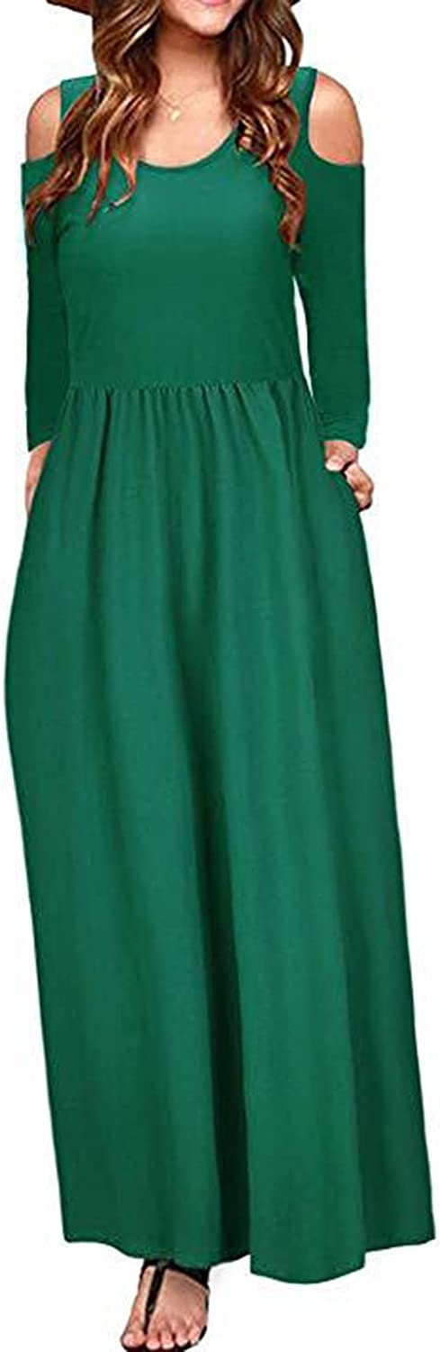 ESULOMP Maxi Dresses for Womens Summer Casual Off Shoulder Straight Long Sleeve Solid Color Elegant Long Dress with Pockets