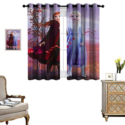 Decor Curtains Frozen 2 Anna and Elsa Window Curtains Apartment Decoration Set of 2 Panels W55 x L45