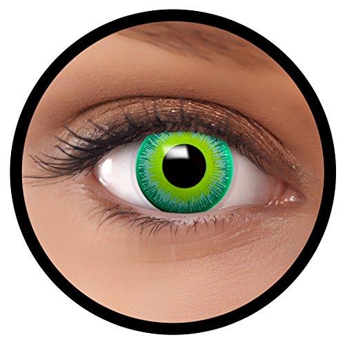 Farbige Kontaktlinsen grün Alien + Behälter, weich, ohne Stärke in als 2er Pack (1 Paar)- angenehm zu tragen und perfekt für Halloween, Karneval, Fasching oder Fastnacht Kostüm