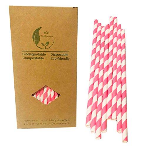 7.7 Inch Pink Gestreifte Papier Strohhalme Papier Trinkhalme 197mm Größe,100% biologisch abbaubar zum Säfte, Getränke, Milchshakes, Kaffee Party Deko,100 Stück