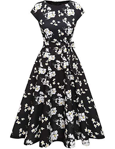 DRESSTELLS 50er Jahre Kleider Damen Vintage Retro Rockabilly Kleid Festlich Partykleid Sommerkleider Cocktailkleid Black White Flower L