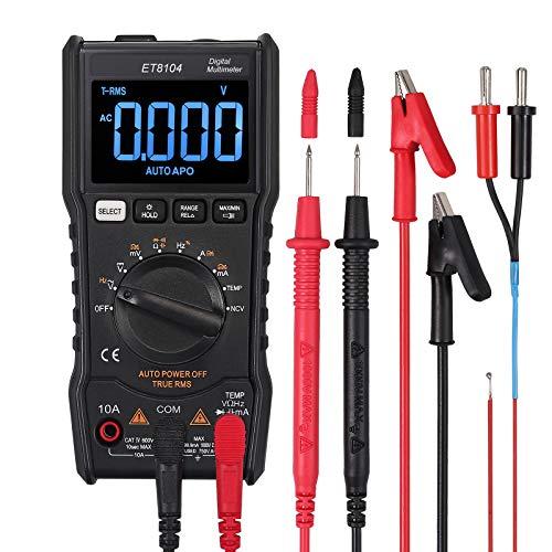 Neoteck Multímetro Digital 9999 Cuentas TRMS Probador de Rango Automático NCV Probador de Capacitancia de Temperatura del Medidor de Corriente de Voltaje de AC DC-NEGRO