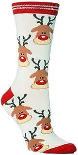 ruiruiNIE Calcetines 1 par Mujeres Hombres Vacaciones navideñas Calcetines Largos Casuales de Dibujos Animados Jacquard Coloridos calcetería de algodón Novedad Regalo Reno