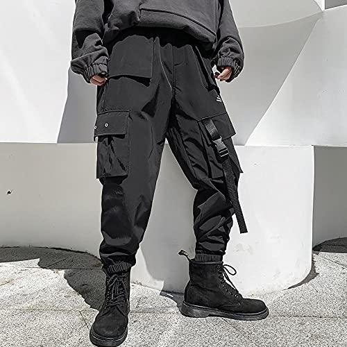 Multi Bolsets Pantalones de Carga Hombres Casual Jogger Men Harajuku Streetwear Pantalones Hip Hop Pants Techwear-Negro_LOS