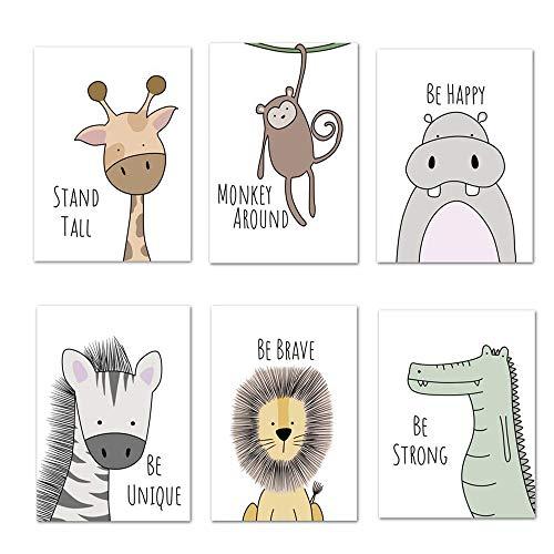 Ciujoy 6er Set Bilder Babyzimmer Deko Junge Mädchen -DIN A4 Poster Kinderzimmer Baby-Waldtiere Safari Afrika Tiere Tierposter Dekoration - ohne Rahmen