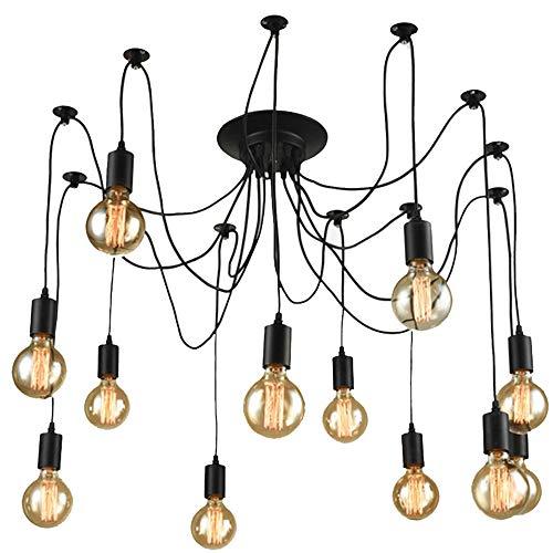 Hwamart ™ HL409 zwölf Kopf Spinne Kronleuchter Lichter Edison E27 Deckenpendelleuchte Jahrgang industrielle Retro-Stil Metall-Lampe (HL409)