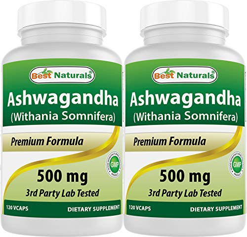2 Pack - Best Naturals Ashwagandha Capsules for Relaxing Stress and Mood, 500 mg, 120 Count ( Total 240 Capsules)