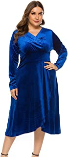 Women's Women Plus Size V-Neck Velour Dress High Waist Long Sleeve Knee Length A-line Elegant Evening Gown