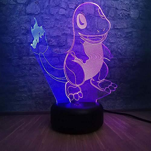 Cartoon 3D Led Mix Color Lamp Small Fire Dragon Nachtlampje voor kinderen