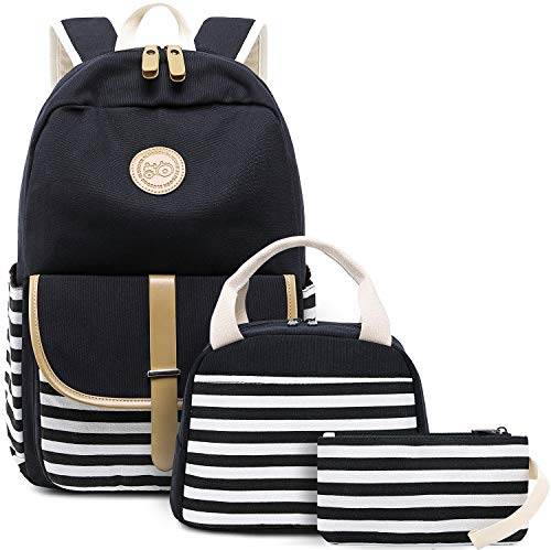 BLUBOON Canvas Bookbags School Backpack Laptop Schoolbag for Teens Girls High School (Stripe Black-8893 New)