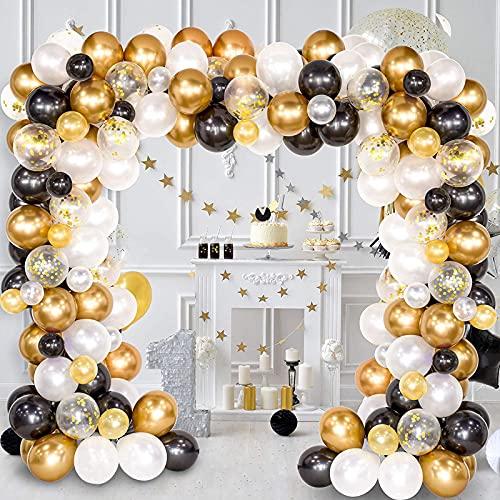 Dee Banna 123 Pcs Juego de guirnaldas de arco de globos, paquete de globos de confeti de látex negro blanco dorado para decoraciones de bodas, fiestas de cumpleaños y suministros para festivales